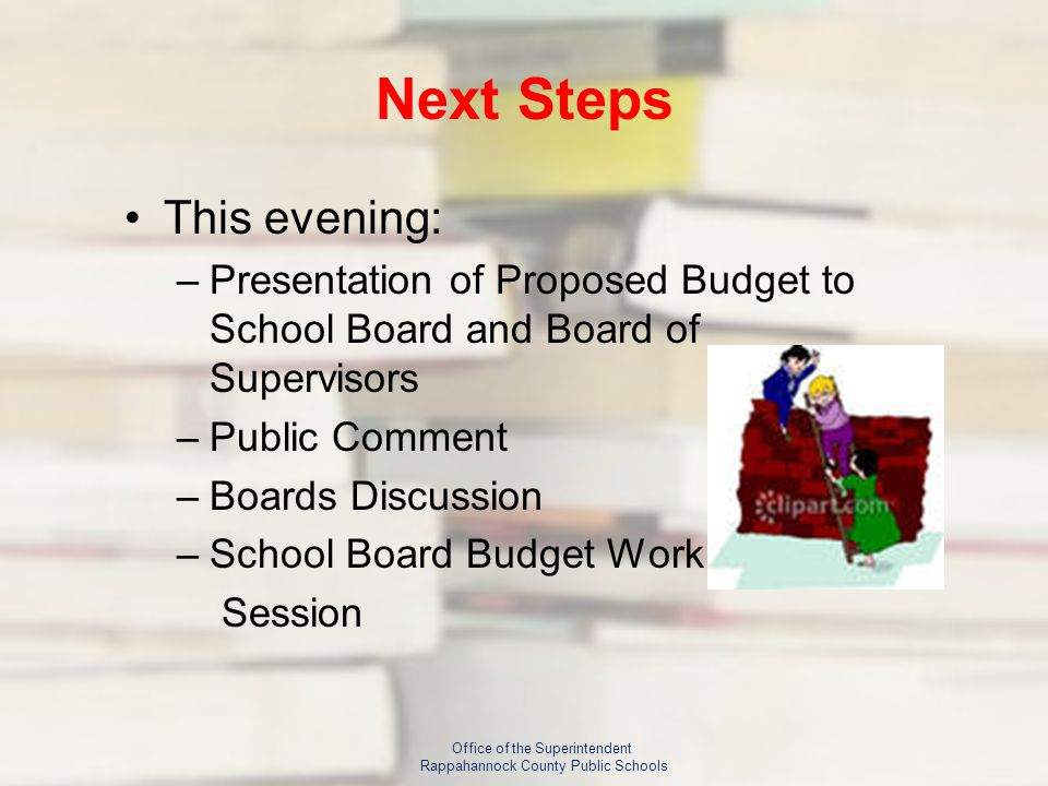Next Steps This evening: –Presentation of Proposed Budget to School Board and Board of Supervisors –Public Comment –Boards Discussion –School Board Budget Work Session Office of the Superintendent Rappahannock County Public Schools