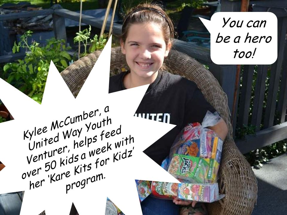 Kylee McCumber, a United Way Youth Venturer, helps feed over 50 kids a week with her 'Kare Kits for Kidz' program.