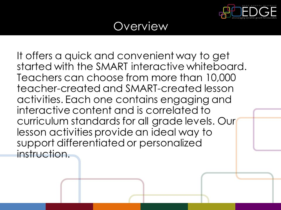 Overview It offers a quick and convenient way to get started with the SMART interactive whiteboard.