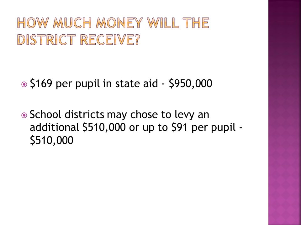  $169 per pupil in state aid - $950,000  School districts may chose to levy an additional $510,000 or up to $91 per pupil - $510,000
