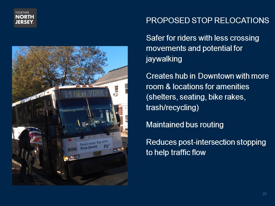 20 PROPOSED STOP RELOCATIONS Safer for riders with less crossing movements and potential for jaywalking Creates hub in Downtown with more room & locations for amenities (shelters, seating, bike rakes, trash/recycling) Maintained bus routing Reduces post-intersection stopping to help traffic flow