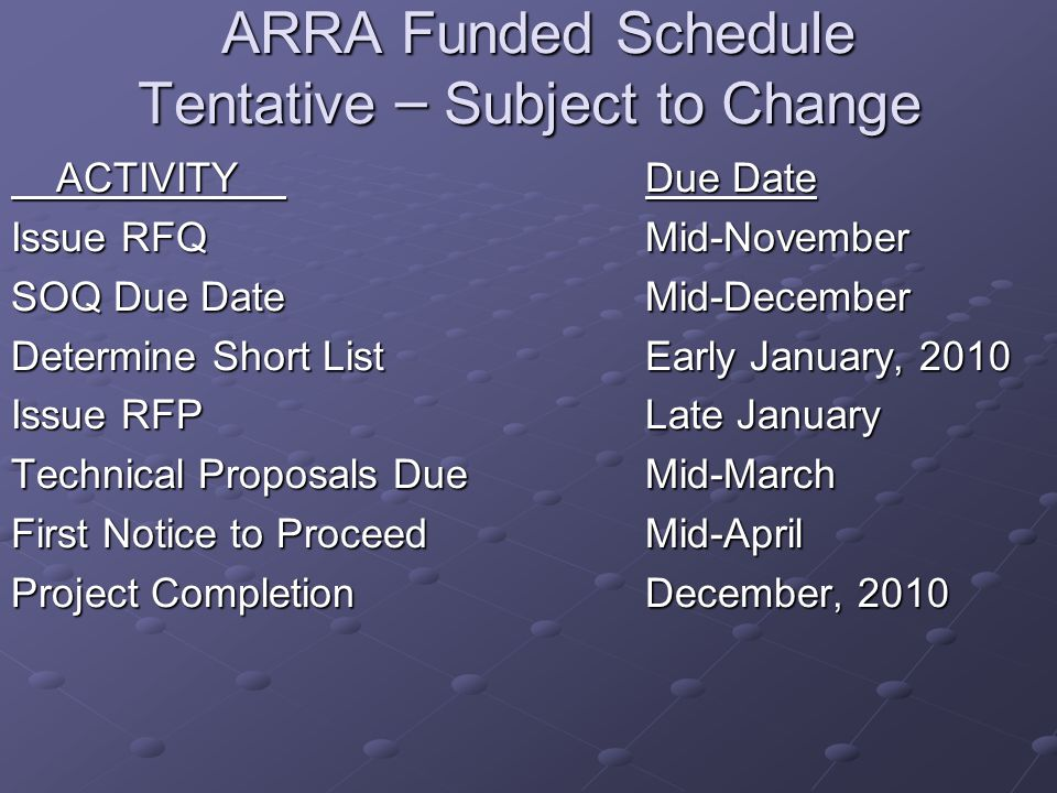 ARRA Funded Schedule Tentative – Subject to Change ARRA Funded Schedule Tentative – Subject to Change ACTIVITY Due Date ACTIVITY Due Date Issue RFQ Mid-November SOQ Due Date Mid-December Determine Short List Early January, 2010 Issue RFP Late January Technical Proposals Due Mid-March First Notice to ProceedMid-April Project CompletionDecember, 2010