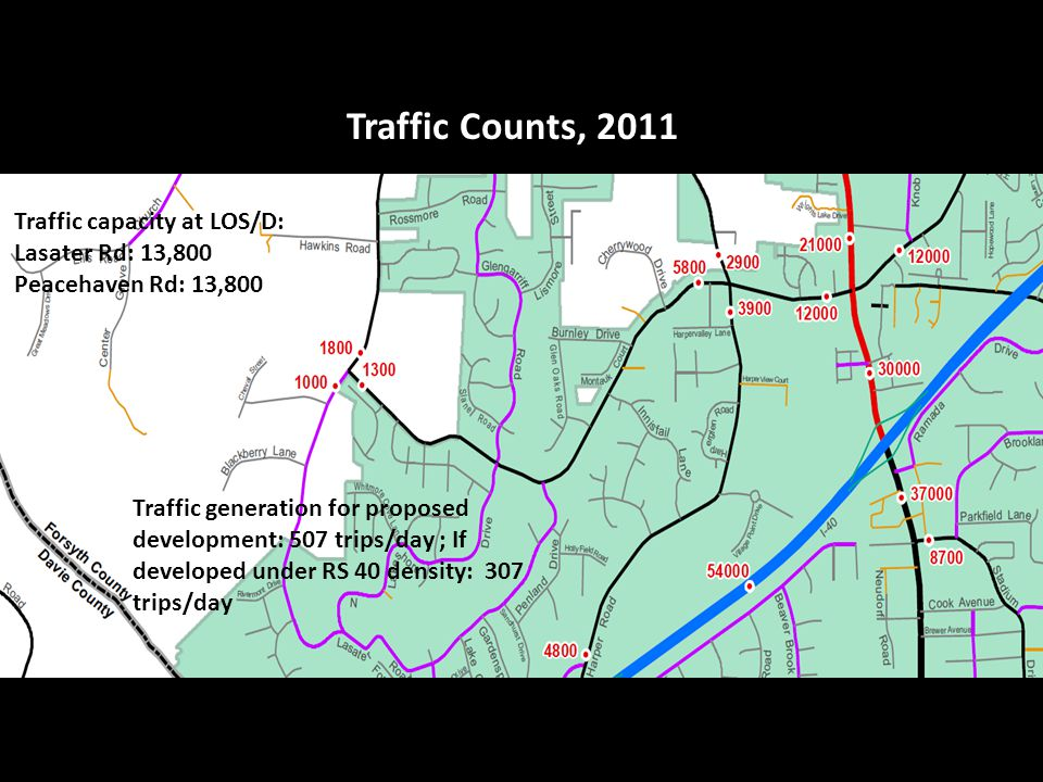 Traffic Counts, 2011 Traffic generation for proposed development: 507 trips/day ; If developed under RS 40 density: 307 trips/day Traffic capacity at LOS/D: Lasater Rd: 13,800 Peacehaven Rd: 13,800