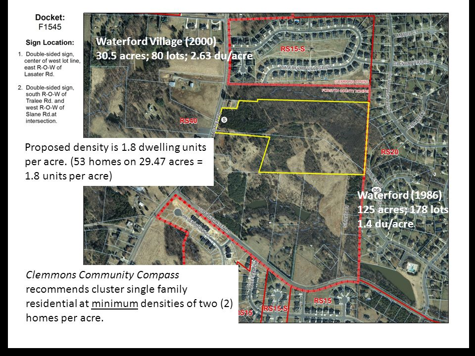 Clemmons Community Compass recommends cluster single family residential at minimum densities of two (2) homes per acre.