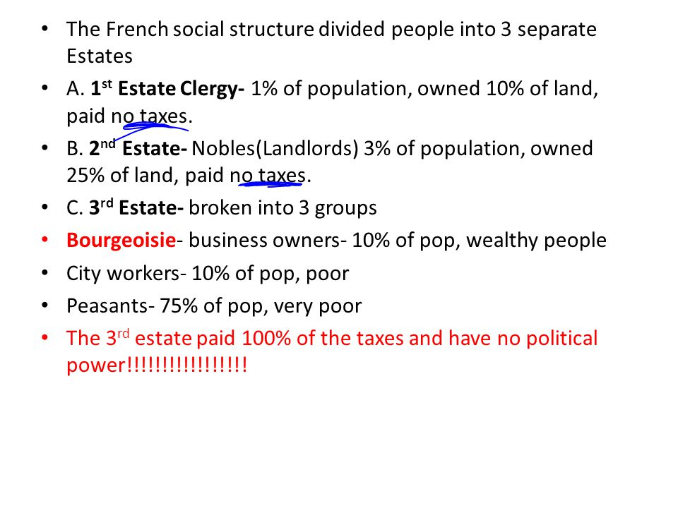 The French social structure divided people into 3 separate Estates A.