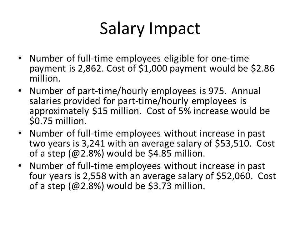Salary Impact Number of full-time employees eligible for one-time payment is 2,862.