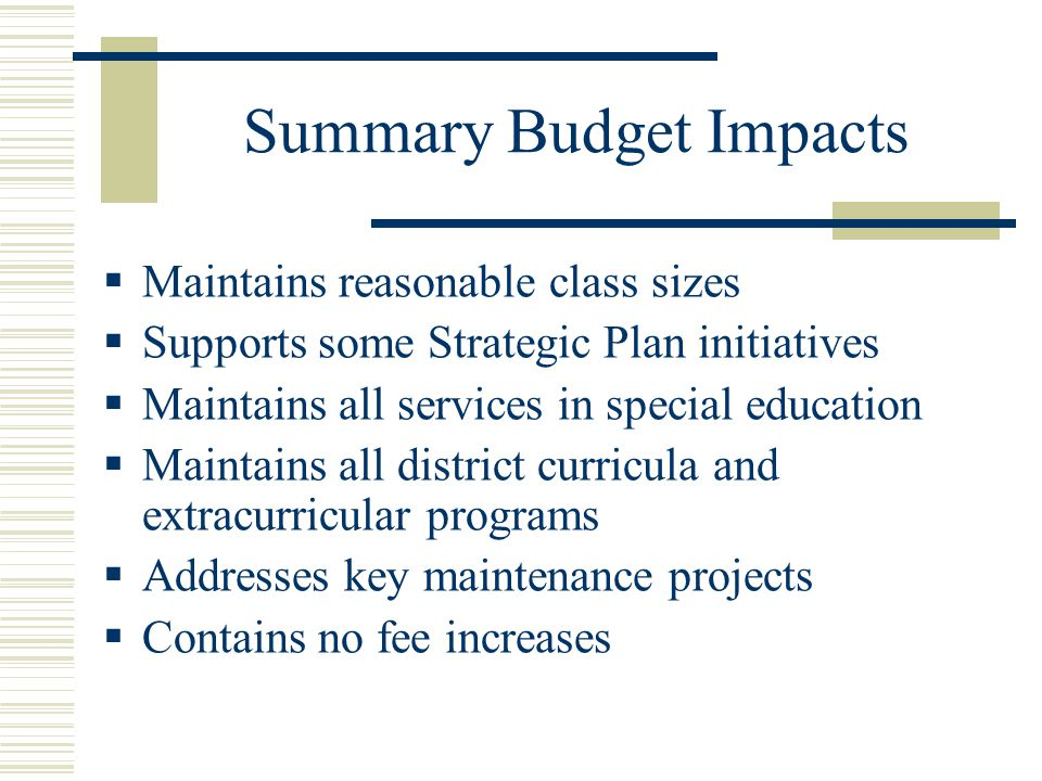 Summary Budget Impacts  Maintains reasonable class sizes  Supports some Strategic Plan initiatives  Maintains all services in special education  Maintains all district curricula and extracurricular programs  Addresses key maintenance projects  Contains no fee increases