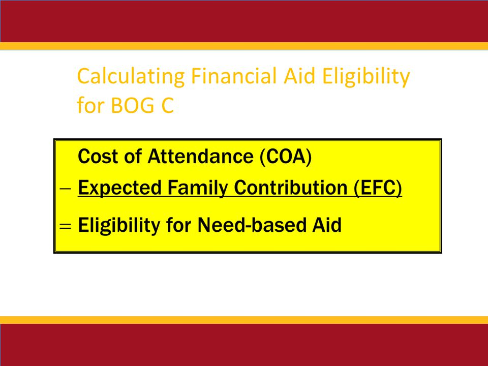 Calculating Financial Aid Eligibility for BOG C