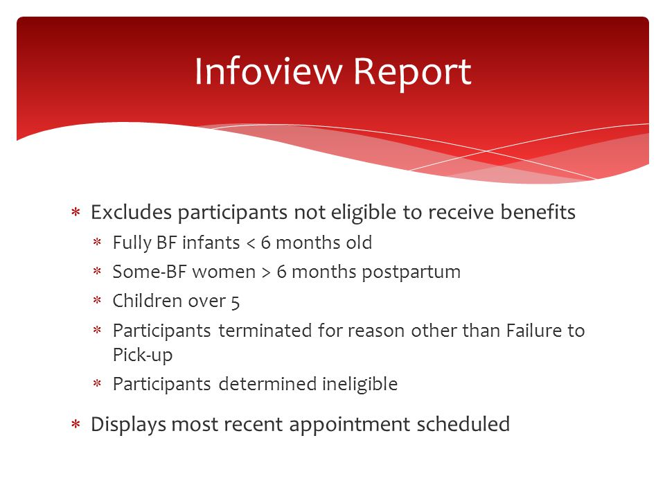  Excludes participants not eligible to receive benefits  Fully BF infants < 6 months old  Some-BF women > 6 months postpartum  Children over 5  Participants terminated for reason other than Failure to Pick-up  Participants determined ineligible  Displays most recent appointment scheduled