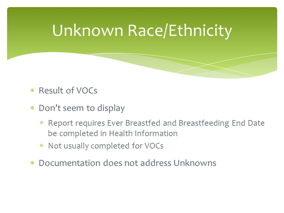  Result of VOCs  Don't seem to display  Report requires Ever Breastfed and Breastfeeding End Date be completed in Health Information  Not usually completed for VOCs  Documentation does not address Unknowns Unknown Race/Ethnicity