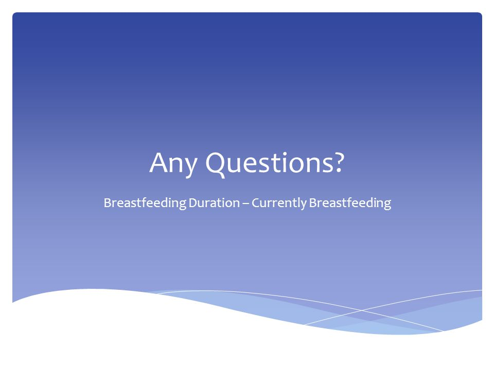 Any Questions Breastfeeding Duration – Currently Breastfeeding