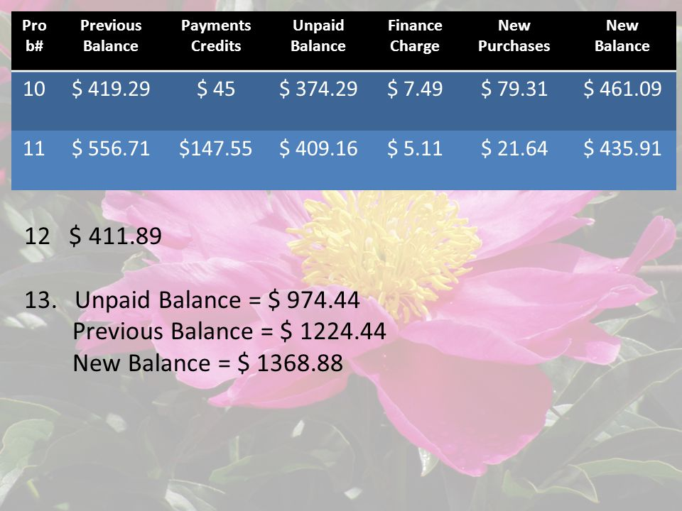 Pro b# Previous Balance Payments Credits Unpaid Balance Finance Charge New Purchases New Balance 10$ 419.29$ 45$ 374.29$ 7.49$ 79.31$ 461.09 11$ 556.71$147.55$ 409.16$ 5.11$ 21.64$ 435.91 12 $ 411.89 13.