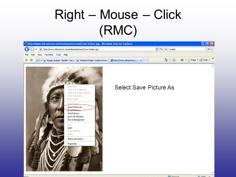 Right – Mouse – Click (RMC) Select Save Picture As