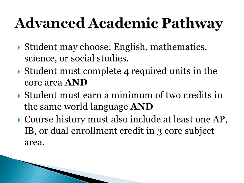  Student may choose: English, mathematics, science, or social studies.