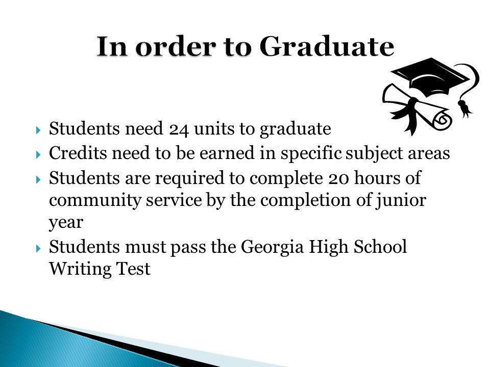  Students need 24 units to graduate  Credits need to be earned in specific subject areas  Students are required to complete 20 hours of community service by the completion of junior year  Students must pass the Georgia High School Writing Test