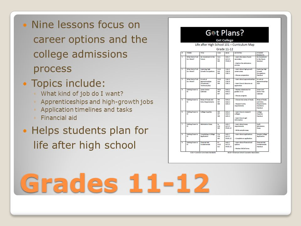 Grades 11-12 Nine lessons focus on career options and the college admissions process Topics include: ◦What kind of job do I want.