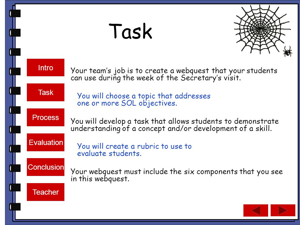 Intro Task Process Evaluation Conclusion Teacher Task Your team's job is to create a webquest that your students can use during the week of the Secretary's visit.