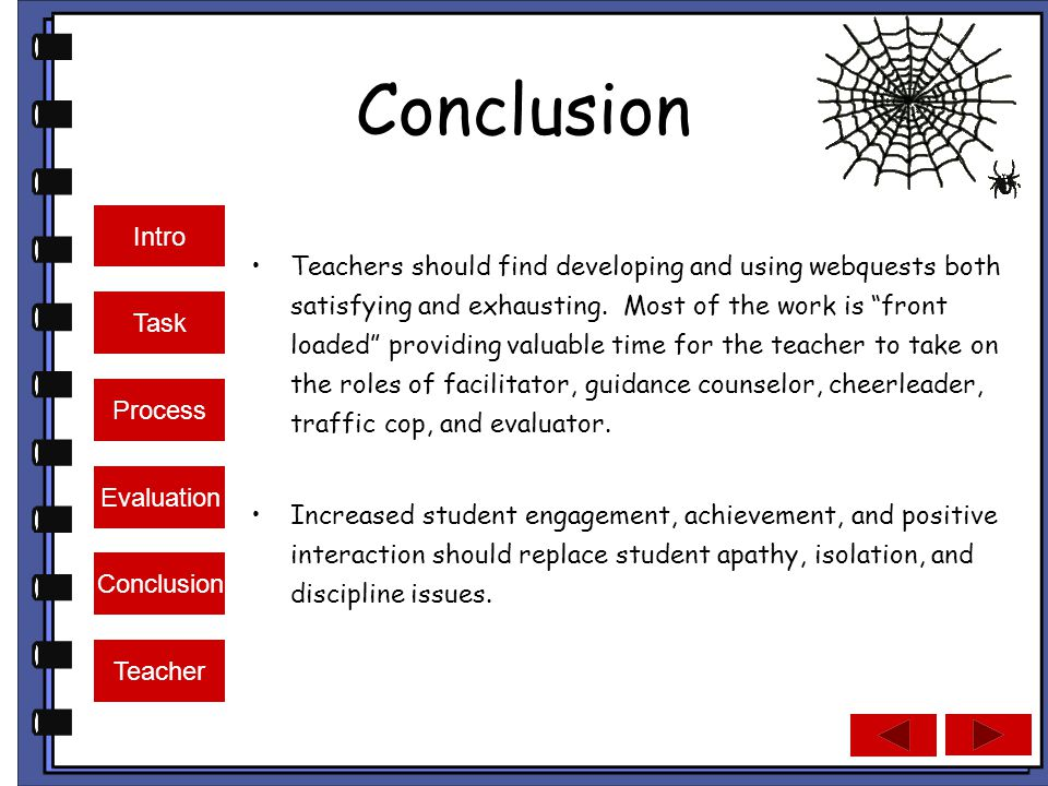 Intro Task Process Evaluation Conclusion Teacher Conclusion Teachers should find developing and using webquests both satisfying and exhausting.