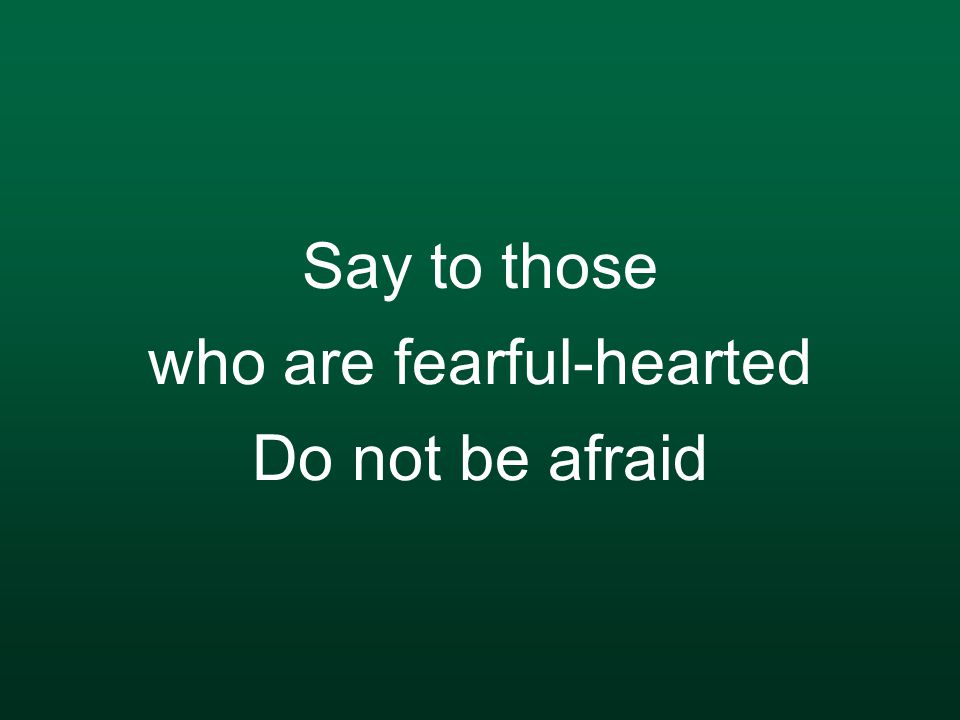 Say to those who are fearful-hearted Do not be afraid