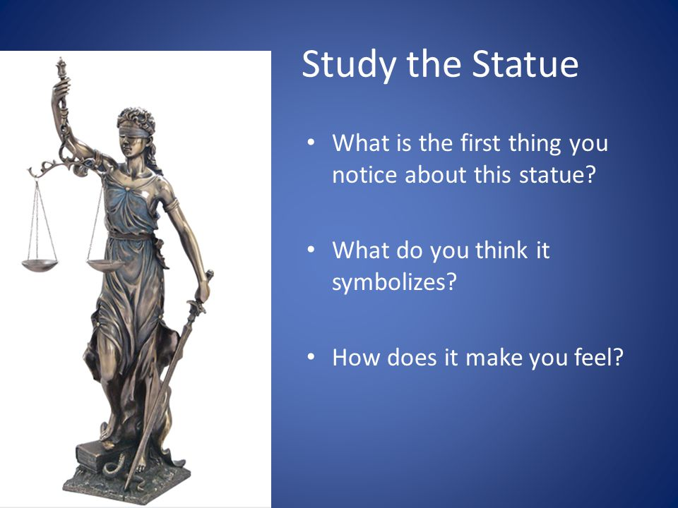 Study the Statue What is the first thing you notice about this statue.