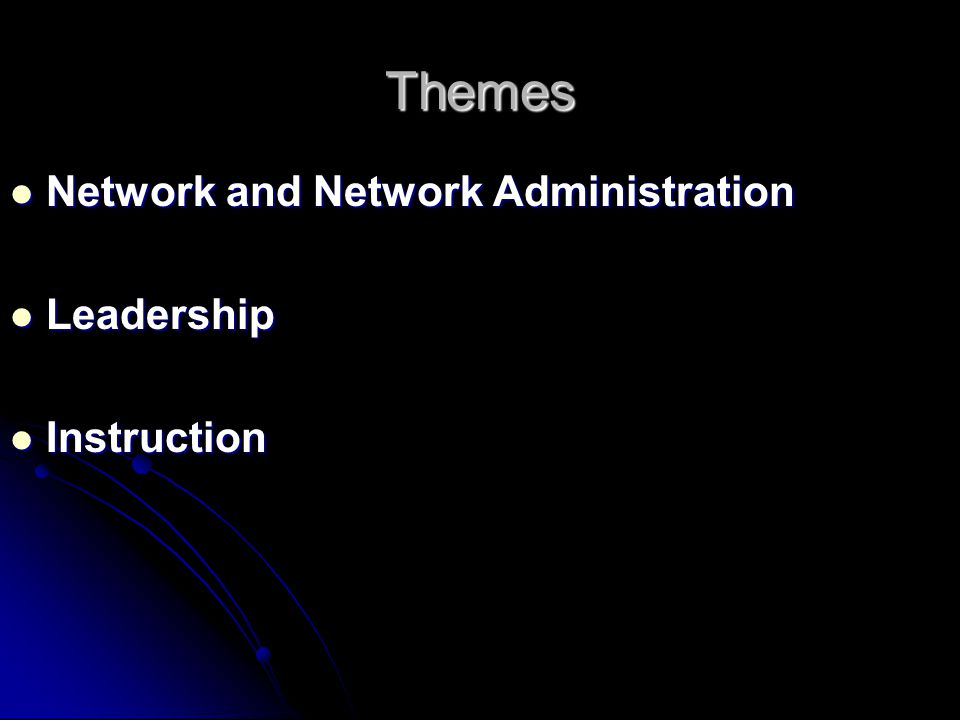Themes Network and Network Administration Network and Network Administration Leadership Leadership Instruction Instruction
