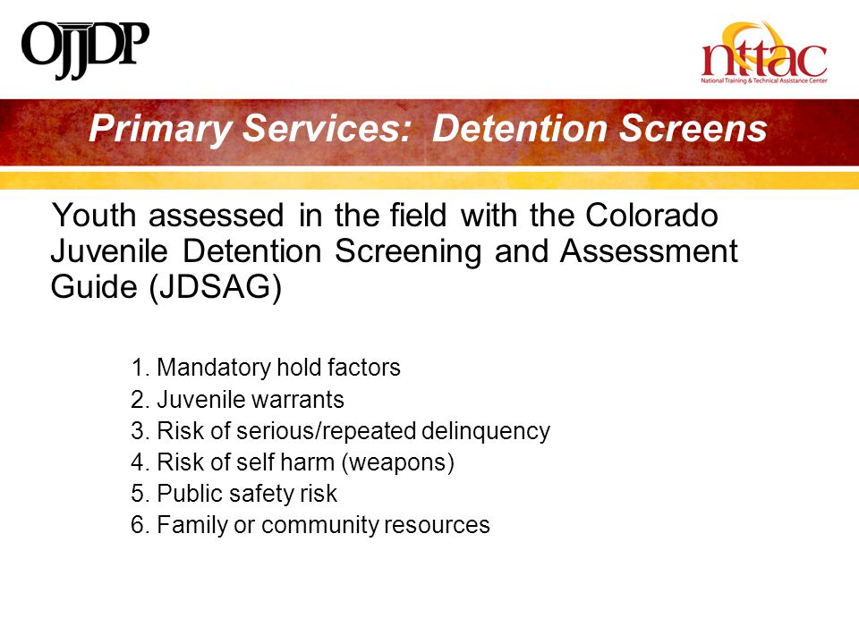 Primary Services: Detention Screens Youth assessed in the field with the Colorado Juvenile Detention Screening and Assessment Guide (JDSAG) 1.
