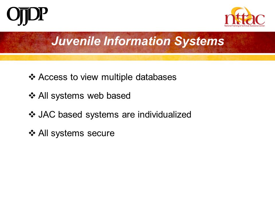 JUVENILE INFORMATION SYSTEMS  Access to view multiple databases  All systems web based  JAC based systems are individualized  All systems secure Juvenile Information Systems