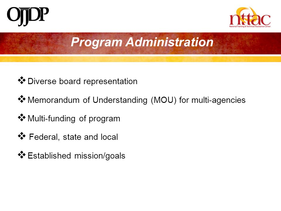  Diverse board representation  Memorandum of Understanding (MOU) for multi-agencies  Multi-funding of program  Federal, state and local  Established mission/goals