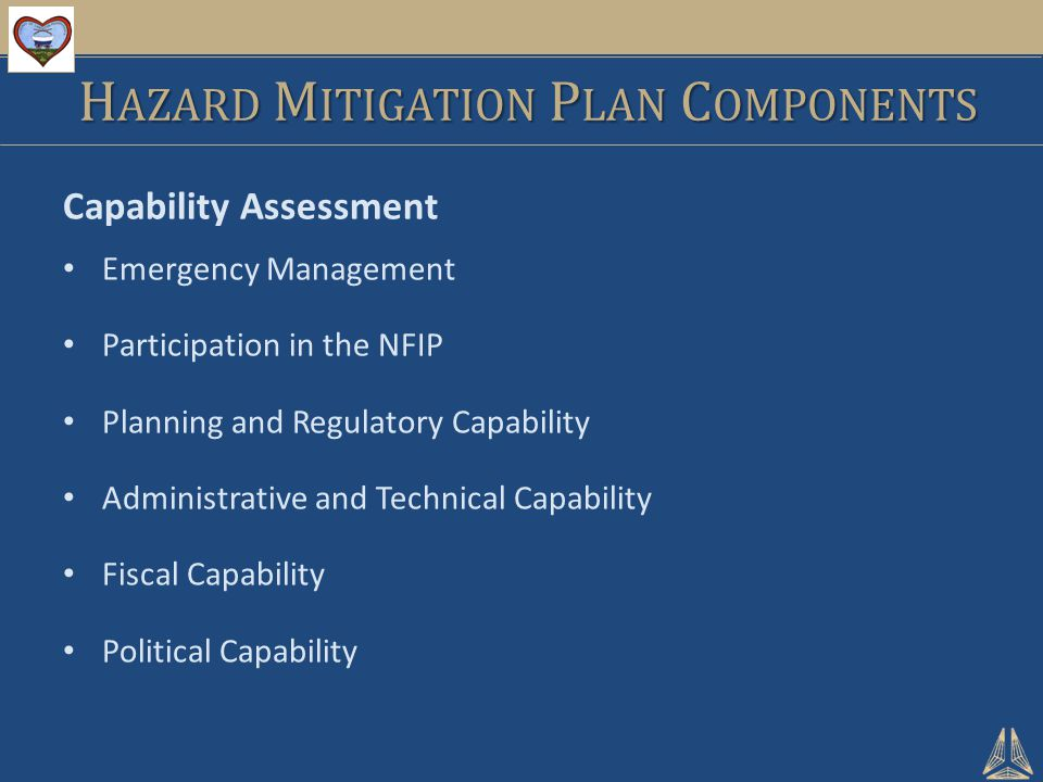 Capability Assessment Emergency Management Participation in the NFIP Planning and Regulatory Capability Administrative and Technical Capability Fiscal Capability Political Capability H AZARD M ITIGATION P LAN C OMPONENTS
