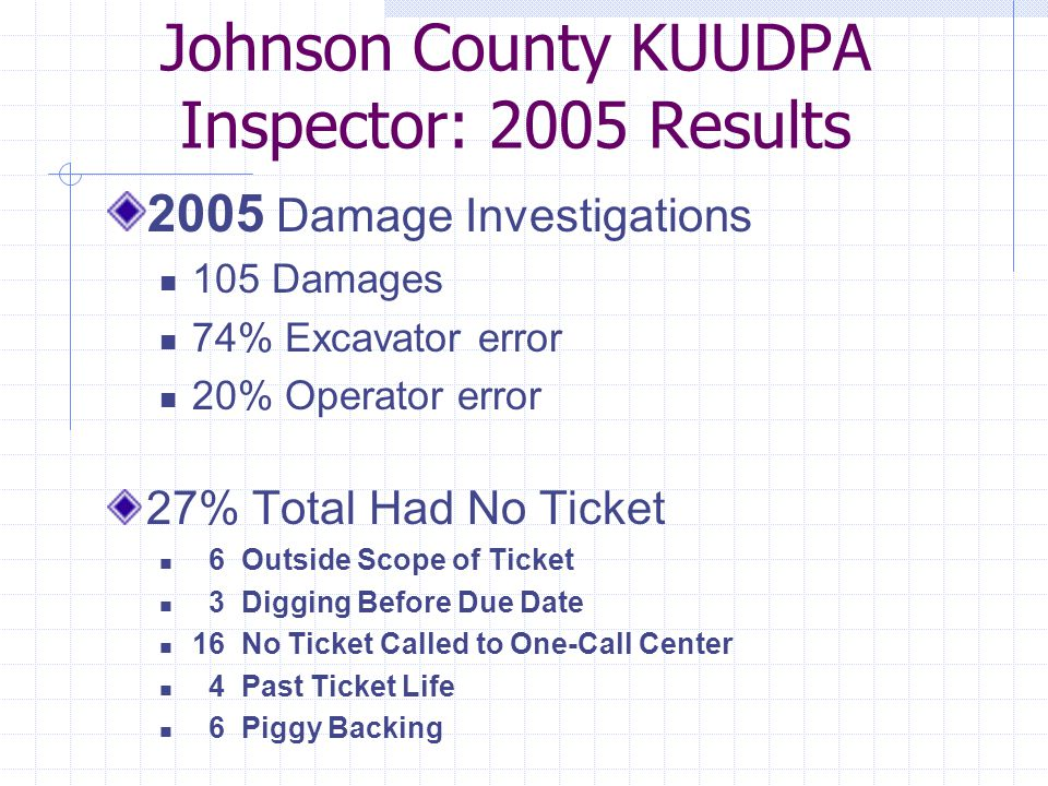 Johnson County KUUDPA Inspector: 2005 Results 2005 Damage Investigations 105 Damages 74% Excavator error 20% Operator error 27% Total Had No Ticket 6 Outside Scope of Ticket 3 Digging Before Due Date 16 No Ticket Called to One-Call Center 4 Past Ticket Life 6 Piggy Backing