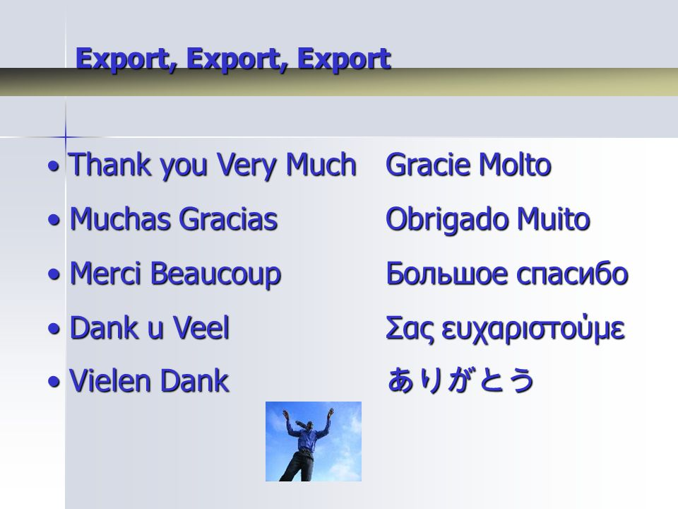 Export, Export, Export Thank you Very MuchGracie Molto Thank you Very MuchGracie Molto Muchas GraciasObrigado Muito Muchas GraciasObrigado Muito Merci BeaucoupБольшое спасибо Merci BeaucoupБольшое спасибо Dank u VeelΣας ευχαριστούμε Dank u VeelΣας ευχαριστούμε Vielen Dank ありがとう Vielen Dank ありがとう