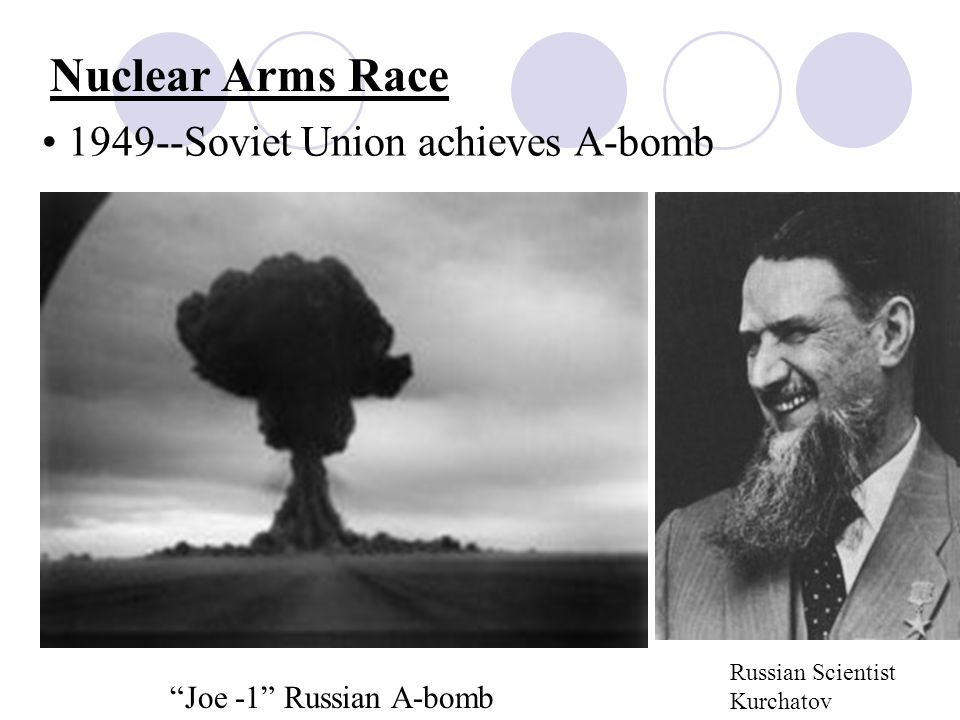 Nuclear Arms Race Soviet Union achieves A-bomb Russian Scientist Kurchatov Joe -1 Russian A-bomb