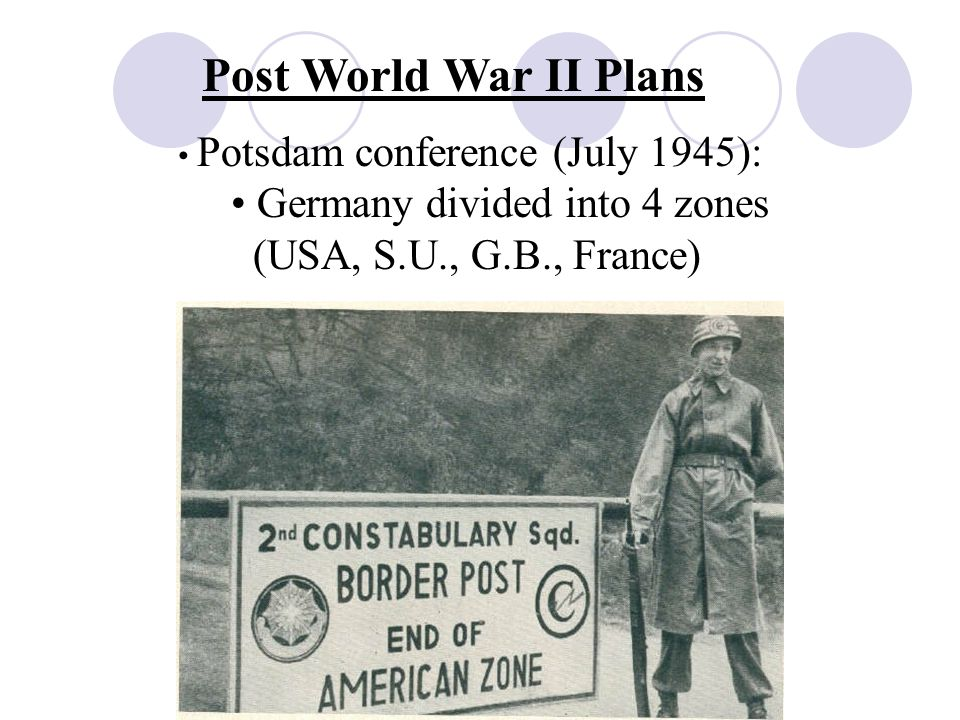 Post World War II Plans Potsdam conference (July 1945): Germany divided into 4 zones (USA, S.U., G.B., France)