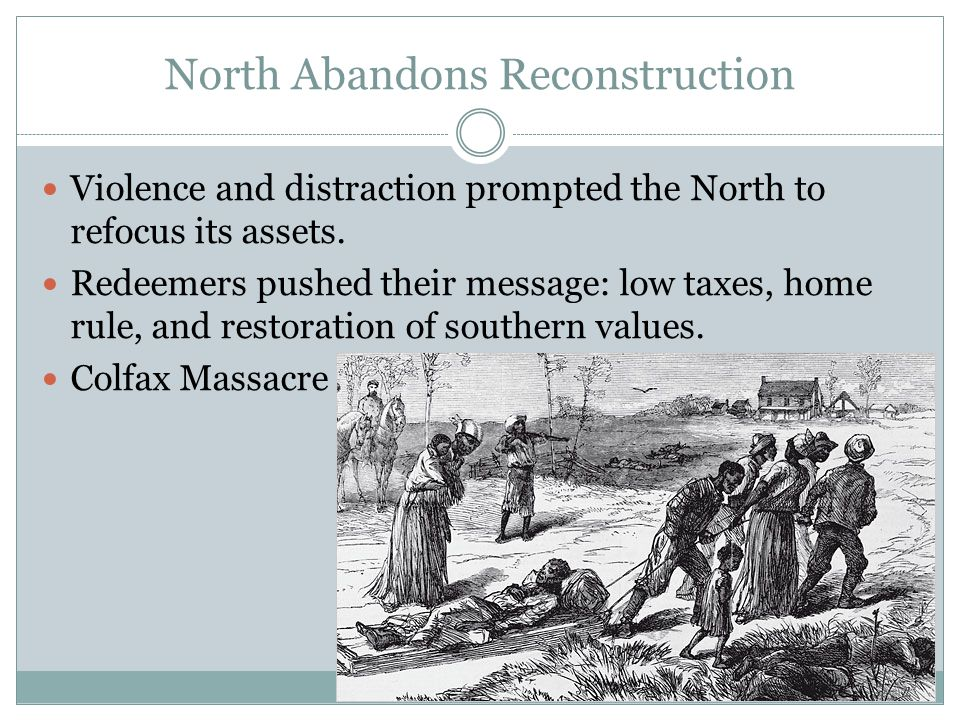 North Abandons Reconstruction Violence and distraction prompted the North to refocus its assets.