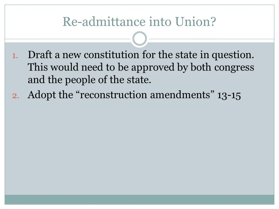 Re-admittance into Union. 1. Draft a new constitution for the state in question.