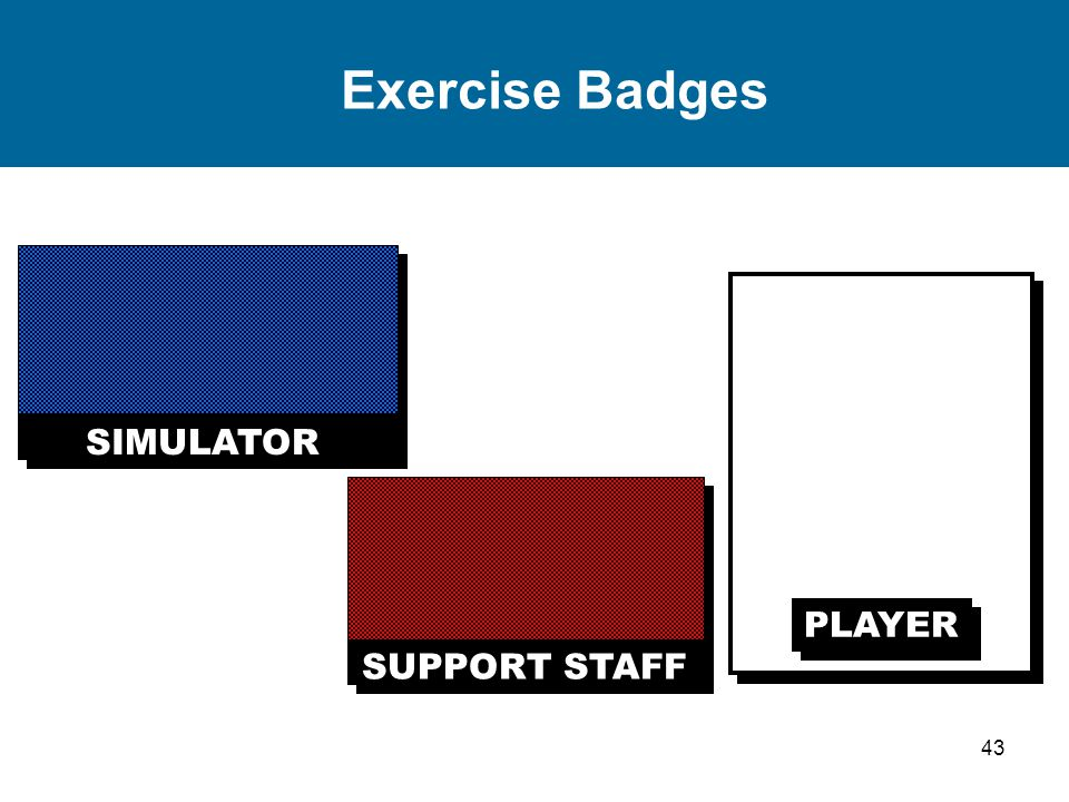 43 Exercise Badges SIMULATOR SUPPORT STAFF PLAYER