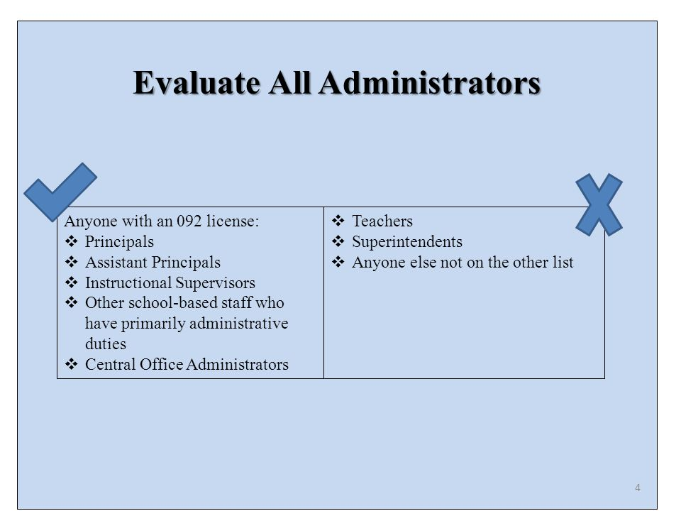 Evaluate All Administrators Anyone with an 092 license:  Principals  Assistant Principals  Instructional Supervisors  Other school-based staff who have primarily administrative duties  Central Office Administrators  Teachers  Superintendents  Anyone else not on the other list 4