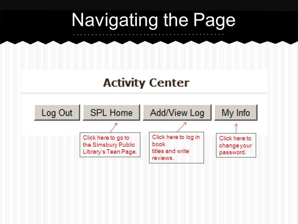Navigating the Page Click here to log in book titles and write reviews.