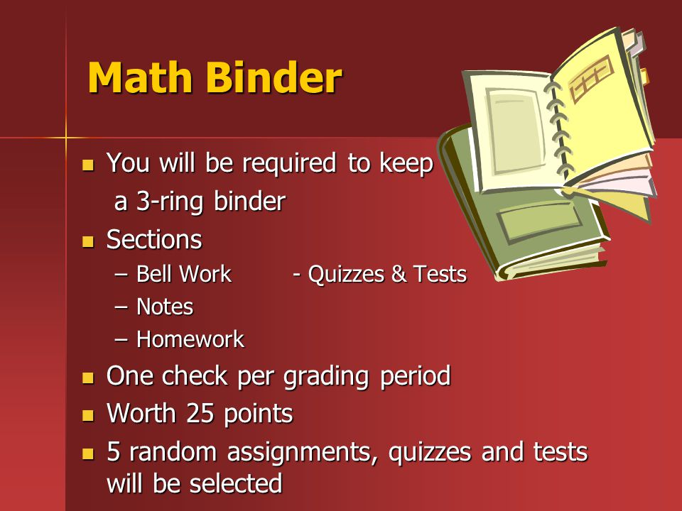 Math Binder You will be required to keep You will be required to keep a 3-ring binder a 3-ring binder Sections Sections –Bell Work - Quizzes & Tests –Notes –Homework One check per grading period One check per grading period Worth 25 points Worth 25 points 5 random assignments, quizzes and tests will be selected 5 random assignments, quizzes and tests will be selected