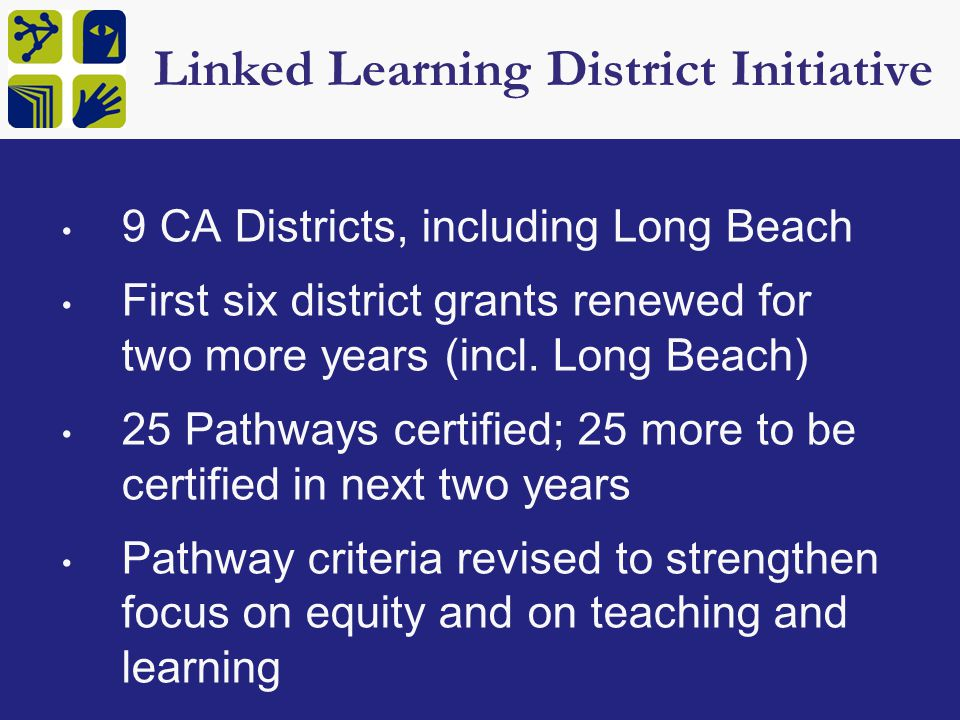 Linked Learning District Initiative 9 CA Districts, including Long Beach First six district grants renewed for two more years (incl.
