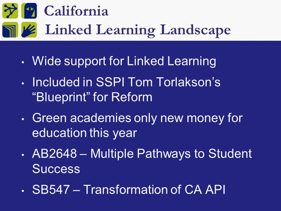 California Linked Learning Landscape Wide support for Linked Learning Included in SSPI Tom Torlakson's Blueprint for Reform Green academies only new money for education this year AB2648 – Multiple Pathways to Student Success SB547 – Transformation of CA API