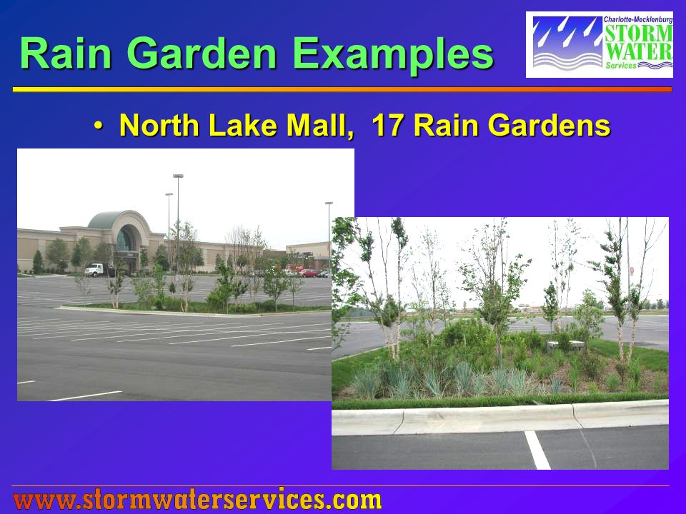 Rain Garden Examples North Lake Mall, 17 Rain GardensNorth Lake Mall, 17 Rain Gardens