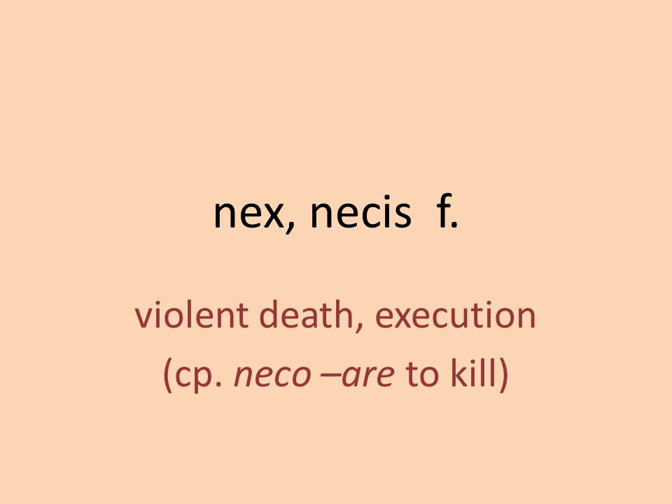 violent death, execution (cp. neco –are to kill)