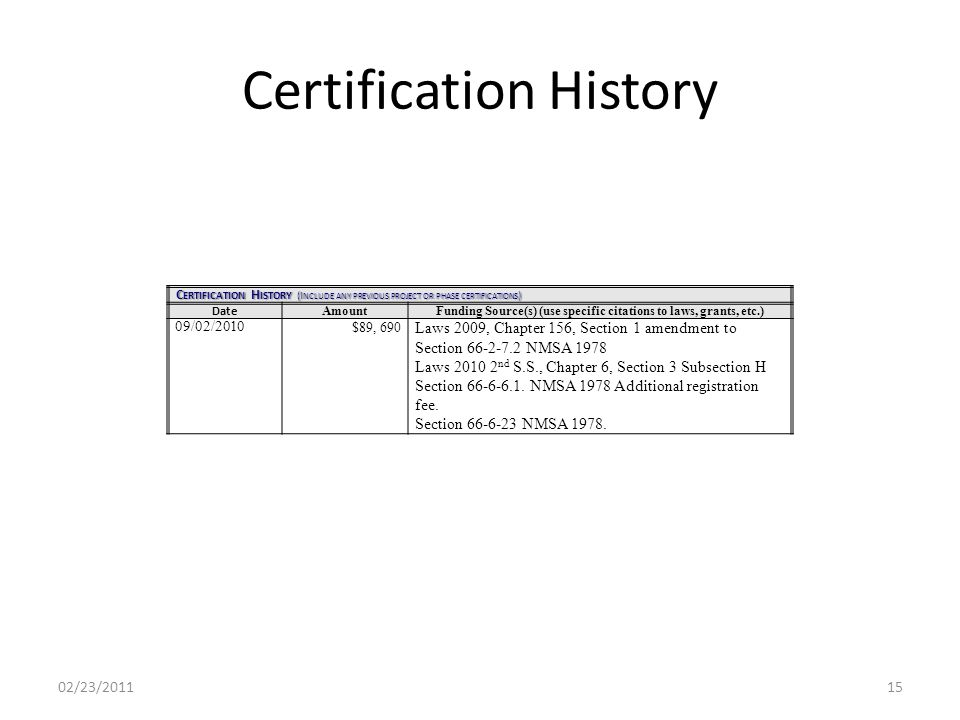 Certification History 02/23/201115 C ERTIFICATION H ISTORY (I NCLUDE ANY PREVIOUS PROJECT OR PHASE CERTIFICATIONS ) Date AmountFunding Source(s) (use specific citations to laws, grants, etc.) 09/02/2010 $89, 690 Laws 2009, Chapter 156, Section 1 amendment to Section 66-2-7.2 NMSA 1978 Laws 2010 2 nd S.S., Chapter 6, Section 3 Subsection H Section 66-6-6.1.