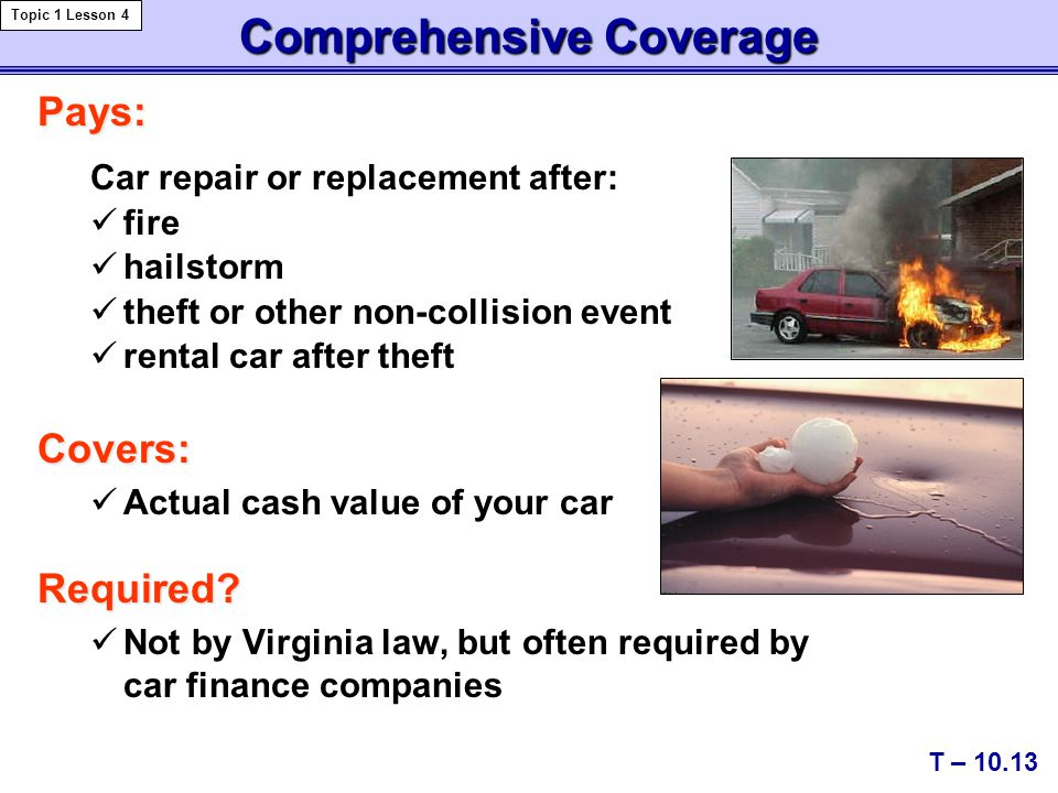 Comprehensive Coverage Pays: Car repair or replacement after: fire hailstorm theft or other non-collision event rental car after theftCovers: Actual cash value of your carRequired.