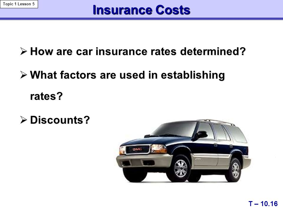 Insurance Costs  How are car insurance rates determined.
