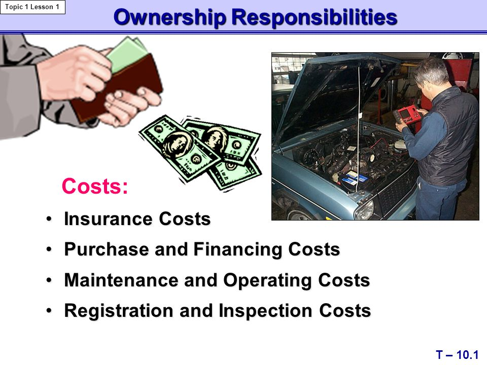 Ownership Responsibilities Ownership Responsibilities Insurance CostsInsurance Costs Purchase and Financing CostsPurchase and Financing Costs Maintenance and Operating CostsMaintenance and Operating Costs Registration and Inspection CostsRegistration and Inspection Costs T – 10.1 Topic 1 Lesson 1 Costs: