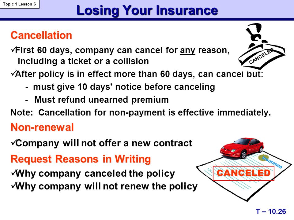Losing Your Insurance Cancellation First 60 days, company can cancel for any reason, including a ticket or a collision After policy is in effect more than 60 days, can cancel but: - must give 10 days notice before canceling -Must refund unearned premium Note: Cancellation for non-payment is effective immediately.Non-renewal Company will not offer a new contract Request Reasons in Writing Why company canceled the policy Why company will not renew the policy T – 10.26 Topic 1 Lesson 6 CANCELED CANCELED