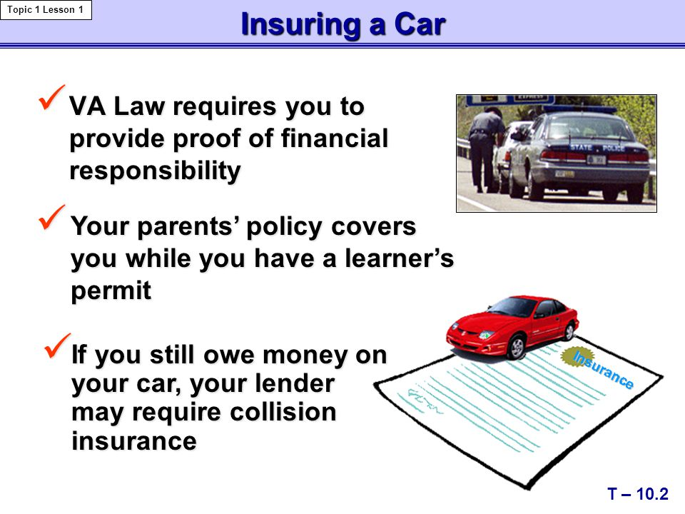 Insuring a Car VA Law requires you to provide proof of financial responsibility VA Law requires you to provide proof of financial responsibility T – 10.2 Topic 1 Lesson 1 If you still owe money on your car, your lender may require collision insurance If you still owe money on your car, your lender may require collision insurance Your parents' policy covers you while you have a learner's permit Your parents' policy covers you while you have a learner's permit