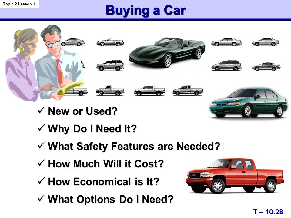 Buying a Car New or Used. New or Used. Why Do I Need It.